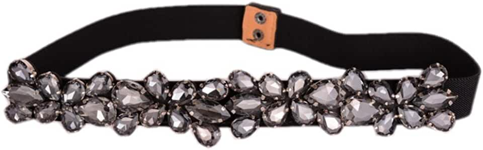 Dorchid Women's Rhinestone Skinny Belt Floral Elastic Cummerbunds for Lady Black