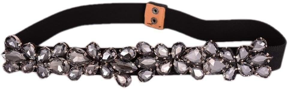 Dorchid Women's Rhinestone Skinny Belt Floral Elastic Cummerbunds for Lady Black