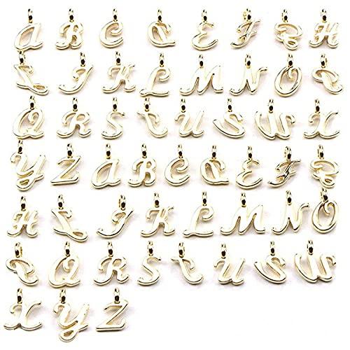 Smalllook Colgante de letra A-Z colgante de aleación con diamantes de imitación, adecuado para hacer joyas y hacer bricolaje collar pulsera llavero, Cerámica Esmalte,