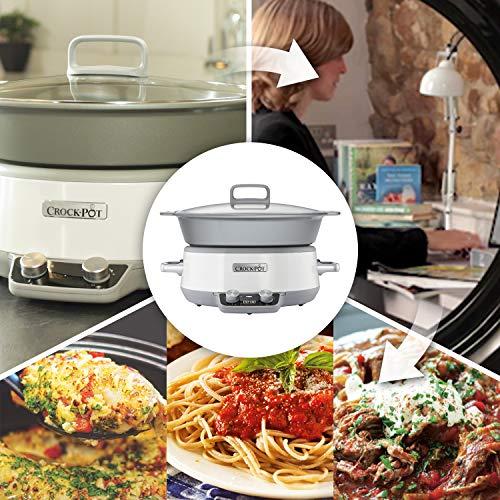 Crock-Pot Duraceramic CSC027X Olla de cocción Lenta Digital, Recipiente Compatible con Fuego e inducción, para Preparar Todo Tipo de Recetas, 6 litros, Acero Inoxidable, Blanco
