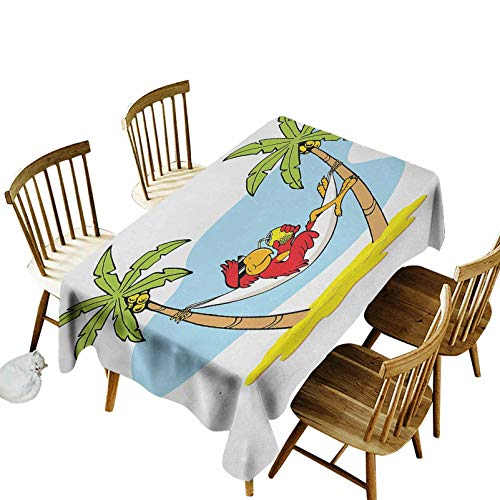 Holiday Easy Care Dinning Table Cover Funny Illustration Parrot Lying Down in Hammock Between Palm Tree Shade in Tropics for Easter Decor, Dining, Holiday, Parties 55x102 Multicolor