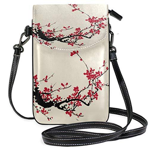 ZZKKO Mini-Schultertasche/Handtasche aus Leder, asiatische japanische Kirsche