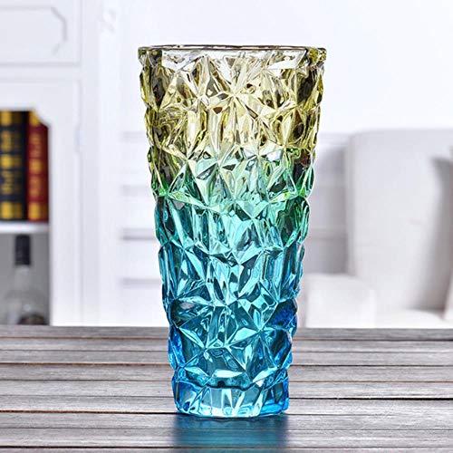Modern Glass Vase Thicken Magic Color vases Hydroponics Flower Arrangement Container Living Room Wedding Home Decoration-Blue