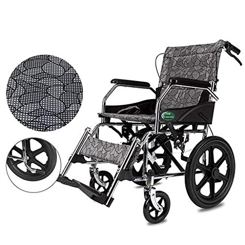 ZCYXQR Silla de Ruedas, Plegable, Ligera, portátil, impulsada por un Asistente, para Ancianos, discapacitados, Silla de Viaje de tránsito (portátil al Aire Libre)