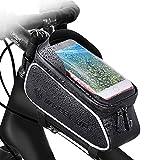 自転車バッグ防水フロントビームバッグ自転車かばん前バッグ上チューブかばんマウンテンバイク装備部品フロントバッグ大容量 6.0インチ対応 iPhone8 X8 7 6 6S/Samsung/Sonyなど対応 (黒)