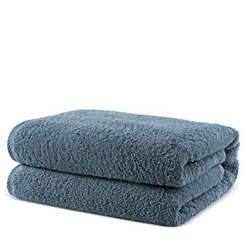 Towel Bazaar 100% Turkish Cotton Multipurpose Towels-Large Bath Sheet/Beach Towel/Bath Towel, Eco-Friendly (Oversized 40x80 inches, Slate Blue)