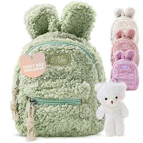 LeNuro Kinderrucksack Mädchen | Plüsch Rucksack mit Teddybär | perfekt für den Kindergarten oder die KiTa | Mini Rucksack mit Tragegurt auch ideal als Tasche (Khaki Grün)