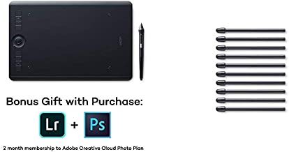Wacom Intuos Pro Digital Graphic Drawing Tablet for Mac or PC, Medium, (PTH660) New Model Bundle with Wacom Standard Nibs ...
