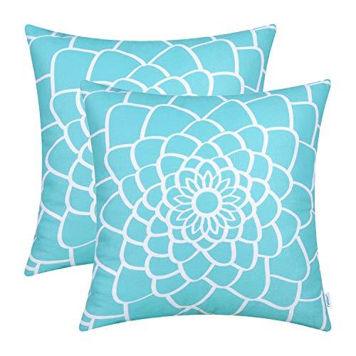 CaliTime 2 Stück weiche Leinen-Kissenbezüge für Couch, Sofa, Heimdekoration, Dahlien, florale Konturen, beidseitiger...