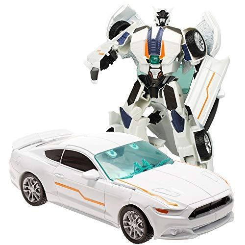Kikioo 1:32 Escala Diecast Toys White Robot Car Diecast Car - Juguete de aleación Función Pullback - Control manual Spinning Racing Car- Regalos de cumpleaños Regalos de Navidad para niños, niñas, niñ