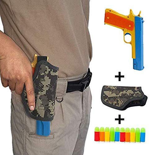 Ferbixo Realistic Colt 1911 Toy Gun with 10 Colorful Soft Bullets, Ejecting Magazine , Slide Action for Training or Play