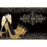 DORCEV 10x6.5ft Happy Birthday Backdrop Lady Queen Theme Birthday Party Lady Birthday Prom Party Background Shiny Golden Crown High Heel Shoes Party Cake Table Banner Birthday Photo Studio Props