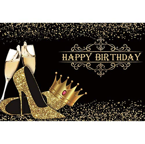 DORCEV 10x6.5ft 50th Happy Birthday Backdrop Fifty Years Old Lady Birthday Party Celebrate 50th Anniversary Background Gold Sparkly Bokeh Spot Gold High Heeled Shose Pearl Diamond Photo Studio Props