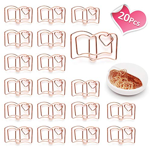 Lovely Heart Book Shape Small Paper Clips - Cute Paper Clips - Funny Bookmark Marking Clips for Office School Wedding Party Invitation Valentine Decoration - Planner Paperclips (20 pcs) (Book)