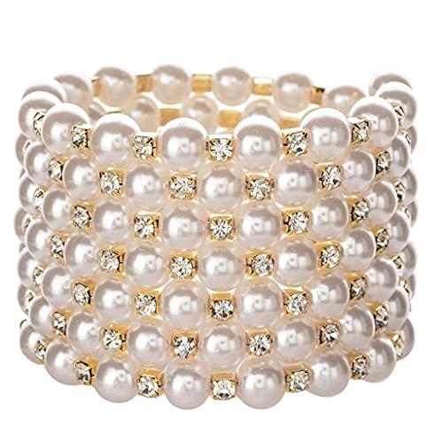 COMEYER Pulsera de Perlas de Oro/Plata con Cristales y Diamantes Brillantes Pulsera elástica de Perlas-7 Filas Art Deco joyería Nupcial
