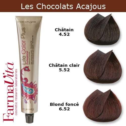 Coloration cheveux FarmaVita - Tons Chocolats Acajous Blond foncé chocolat acajou 6.52