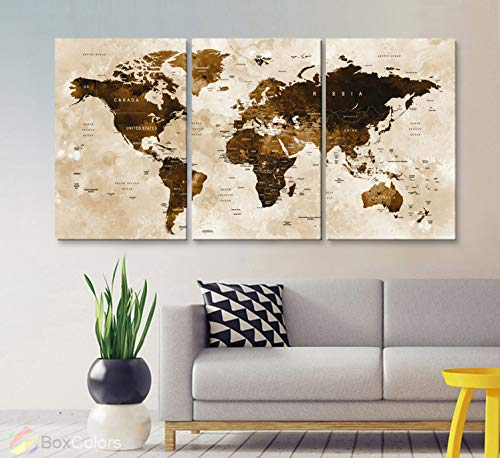 Original by BoxColors LARGE 30'x 60' 3 panels 30x20 Ea Art Canvas Print Watercolor Brown sepia Map World Push Pin Travel Wall decor Home (framed 1.5' depth) M1801
