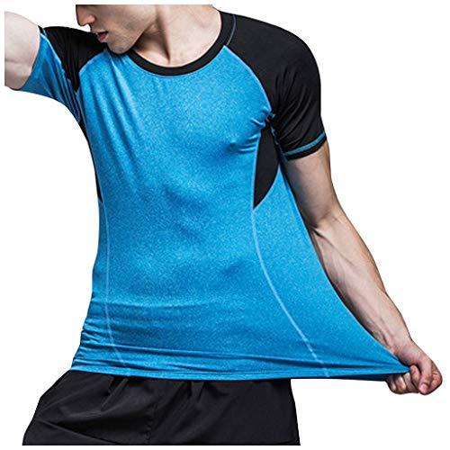 Celucke Laufshirt Herren Kompressionsshirt Kurzarm Funktionsshirt mit Kontrastärmeln, Muskelshirt Männer Sportshirts Atmungsaktiv Schnelltrocknend für Fitness Training Jogging (Blau, XS)