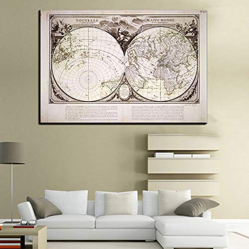 wtnhz Kein Rahmen Mars Karte Poster Retro Vintage Wohnzimmer Dekoration Bild große Leinwand Leinwand gedruckt Gemälde Poster