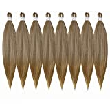 Pre Stretched Honey Blonde 26inch Professional Itch Free Hot Water Setting Synthetic Fiber Crochet Braiding Hair Extension for Twist Braids(27# 26' 8packs)