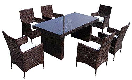 baidani Salon de Jardin Boite 10 C00035.00001 Designer Siège de Douilles Elegancy, 1 Table en rotin avec Plateau en Verre, 6 chaises avec accoudoirs et Coussin, Noir