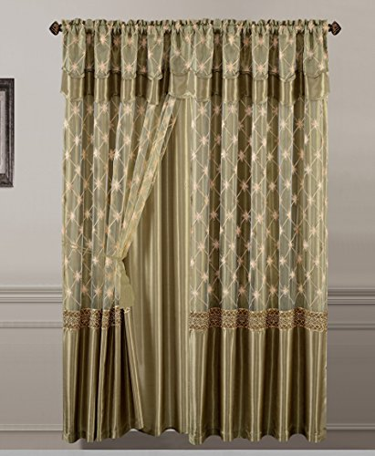 """All American Collection New 2 Panel Elegant Embroidered Curtain with Attached Valance and Sheer Backing (84"""" Long, Sage Green)"""