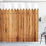 ABAKUHAUS Geometrisch Duschvorhang, Holz Dreieck Streifen, mit 12 Ringe Set Wasserdicht Stielvoll Modern Farbfest & Schimmel Resistent, 175x180 cm, Weiß Braun