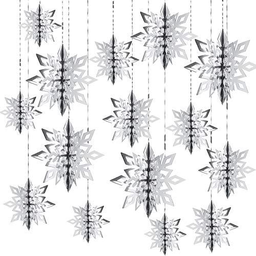 30 Pezzi 3D Ornamenti Fiocco di Neve Carta da Appendere Fiocco di Neve in 3 Taglie con Corda per Natale Decorazioni Albero di Natale Appendere Abbellire
