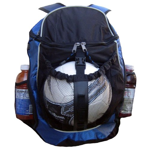 Fashion Helpers Royal Blue and Black Sport Backpack with Ball Pocket for Soccer, Football, Futbol, Basketball, Volleyball