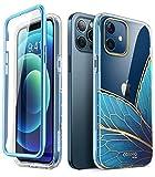 i-Blason - Custodia per iPhone 12 / iPhone 12 Pro 5G 6,1 pollici (versione 2020), sottile e alla moda, con pellicola protettiva integrata (farfalla)