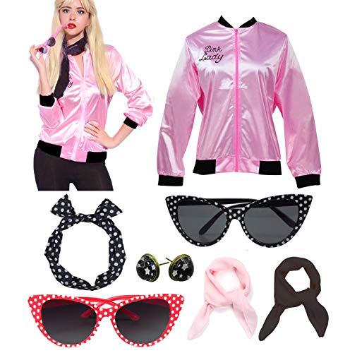 Retro 1950s Rhinestore Pink Ladies Costume Outfit Accessories Set, Rhinestone&polka Dot Glasess, Large
