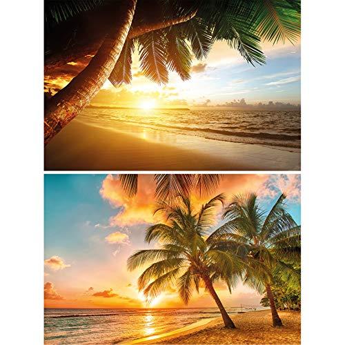 GREAT ART 2er Set XXL Poster – Traumstrand Goldener Sonnenuntergang – Palmen-Strand & Barbados Karibik Insel Strandresort Beach Wand-Bild Dekoration Fotoposter Wanddeko (140 x 100cm)