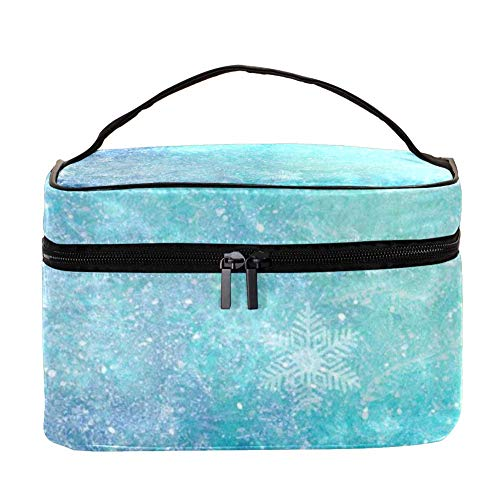 Large Travel Makeup Bag,Best Portable Cosmetic Bag Organizer Multifunction Case with Zipper for Women,Perfect Gift,Ice flower