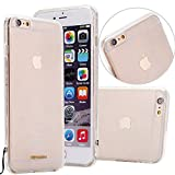 Clear TPU Phone Case with Leather Carry Strap for Iphone 6/6s (White Strap)