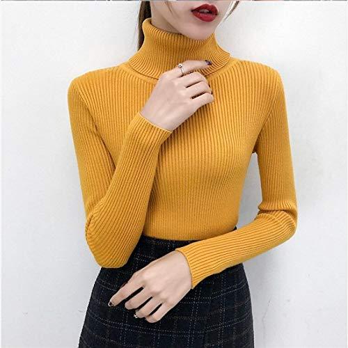 Moda Sudaderas Jersey Sweater Jersey De Punto Tops Jerseys De Cuello Alto Suéteres Casuales Camisa De Mujer Suéter Ajustado De Manga Larga Niñas S Amarillo