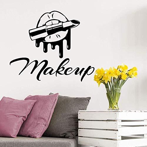Tianpengyuanshuai Make-up Lippen Lippenstift Beauty Salon Wandaufkleber Mädchen Zimmer Kosmetik Nagel Friseursalon Vinyl Dekoration 80X67cm