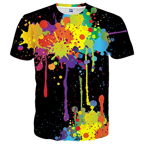 Yasswete Mens Womens Colorful Paint T-Shirts Unisex Top 3D Printed Short Sleeve Shirts Size S