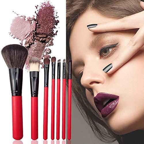 Set de Pinceaux de Maquillage 7pcs pour le Maquillage Poudre Brosse Blush Brush Fard à paupières Brush Cosmetic Brush Set Outil de Maquillage avec Travel Makeup Bag