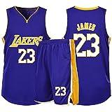 RL Lakers 23# James Gilet De Sport Short Basketball Jersey Ensemble Deux PièCes, Homme sans Manches T-Shirt, Enfant Manche Courte, Femmes Sweat-Shirt(2XS-5X),Violet,1X