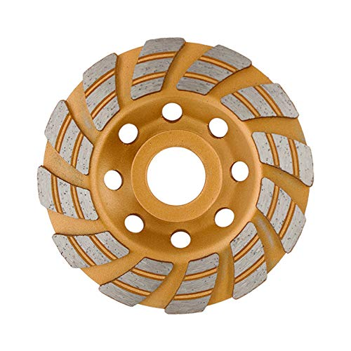 FINGLEE DT 4 Inch Diamond Grinding Cup Wheel for Angle Grinder,Concrete Stone Masonry Polishing,12 Unique segs,with 4/5' 5/8' Adapters
