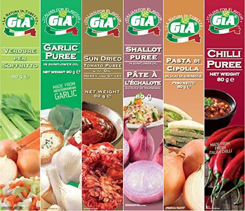 GIA 6 tubos (Preparación a base de Verduras para Sofrito, Pasta de Ajo, Pasta de Tomates Secos, Pasta de Cebolla Chalota, Pasta de Cebolla, Puré de Chiile)