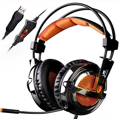 SADES A6 7.1 Virtual Surround Sound Stereo Over-ear PC USB Gaming Headset with Microphone Vibration Volume Control LED Lights(Electroplating Cover), Black-Orange