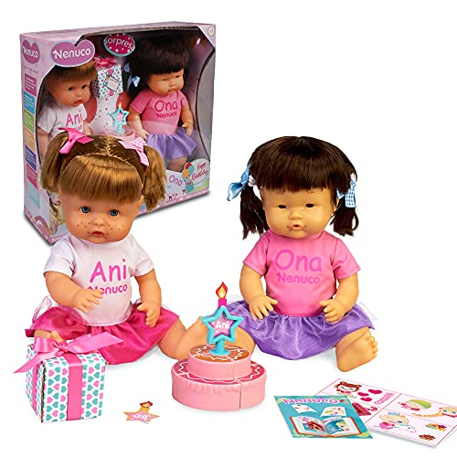 Nenuco - Ani y Ona Feliz Cumpleaños, kit de dos muñecas bebé nenuco hermanas, con tarta para jugar, regalo de cumpleaños libro de colorear y pegatinas, para niñas y niños 3 años, Famosa (700016939)