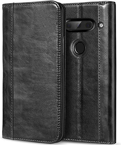 ProCase LG V40 ThinQ Echtes Leder Hülle, ProCase Vintage Geldbörse Falten Flip Case mit Kickstand & mehrere Kartensteckplätze Magnetverschluss Schutzhülle für LG V40 -Schwarz