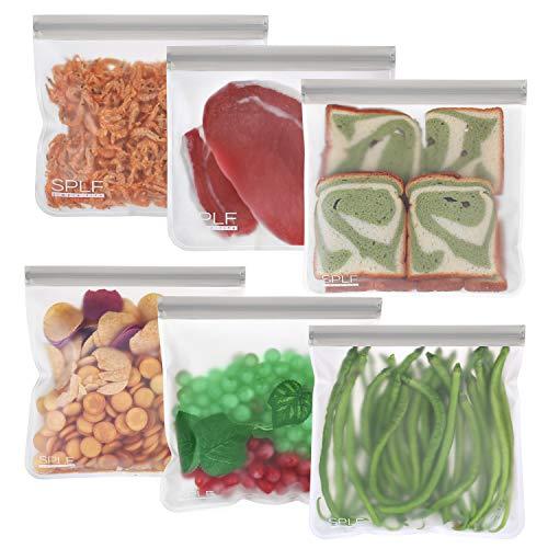 SPLF 6 Pack BPA FREE Reusable Gallon Freezer Bags