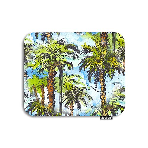 Moslion Palm Tree Mouse Pad Tropical Watercolor Splash Beach Palm Leaf Gaming Mouse Pad Rubber Large Mousepad for Computer Desk Laptop Office Work 7.9x9.5 Inch Green Blue