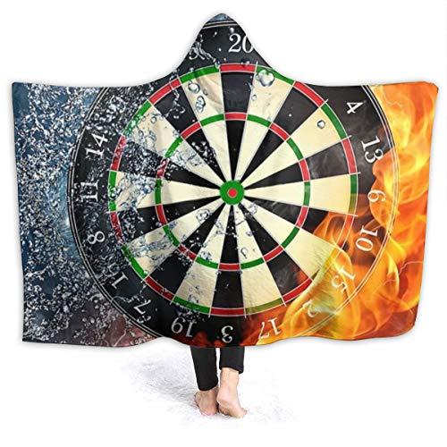 Inaayayi Inaayi Fleece-Überwurf mit Kapuze, tragbar, für Feuer und EIS, Dartscheibe, superweich, für Bett Couch Sofa, leicht, für Reisen und Camping, für Kinder und Erwachsene, Schwarz, 50