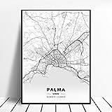 PULE Palma Aviles Girona Terrassa JereLeon España lienzo arte mapa cartel 40X50 CM / 16 * 20...
