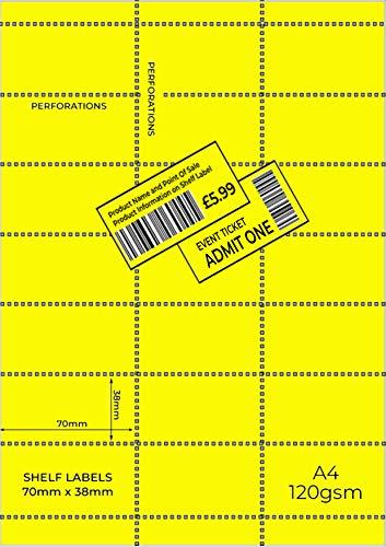 OfficeGear Etiquetas amarillas para borde de estante (525 unidades) 38x70mm imprimibles A4 21 etiquetas perforadas hoja para códigos de barras, pegatinas de precios, incluyendo plantilla