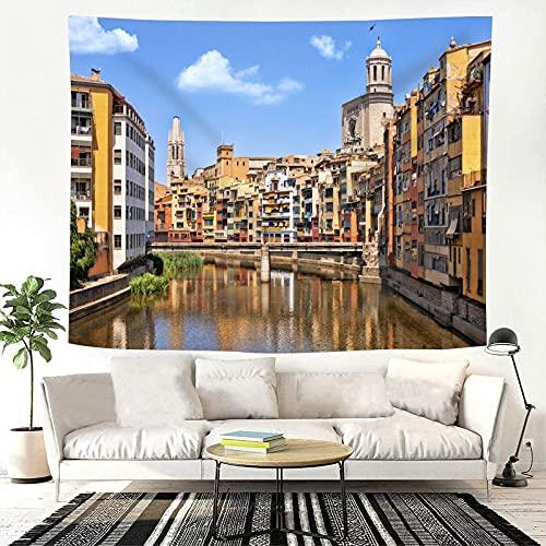 JOOCAR Tapiz Girona Paisaje urbano Arquitectura medieval, arquitectura románica y gótica para colgar en la pared Tapiz de tela de poliéster para el hogar decorativo de pared para dormitorio